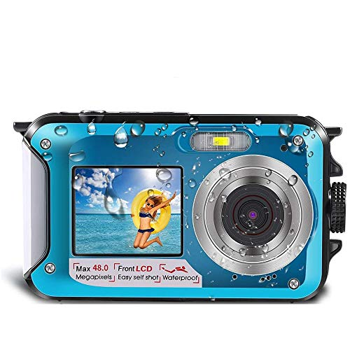Underwater Camera for Snorkeling, Waterproof Camera, 2.7K 48MP Digital Camera HD Rechargeable Underwater Camera with Dual Screen (Blue)