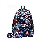 Juego de 2,Backpack Mochilas Escolares Mujer Mochila Escolar Lona Bolsa Casual Bolsa De Hombro Mensajero con estuche de lápiz
