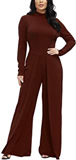 Ophestin Womens Long Sleeve Round Neck Jumpsuit for Work Wide Leg Pants Rompers Burgundy Size M