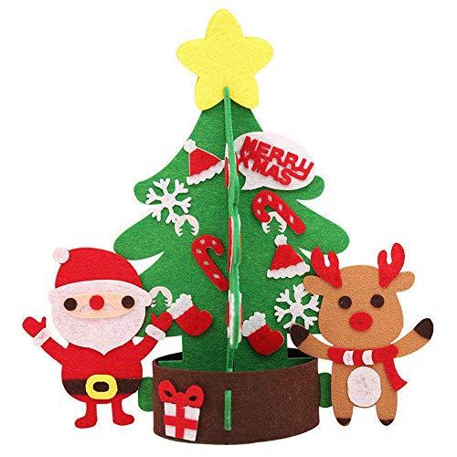 LUFEILI DIY árbol de Navidad casero Fieltro Mini árbol de Navidad Ornamentos niños decoran Regalos Juguete