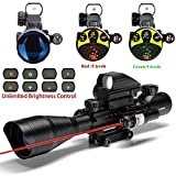 UUQ 4-12X50 Rifle Scope Red &Green Illuminated Range Finder Reticle W/RED Laser Sight and 4 Tactical Holographic Dot Reflex Sigh