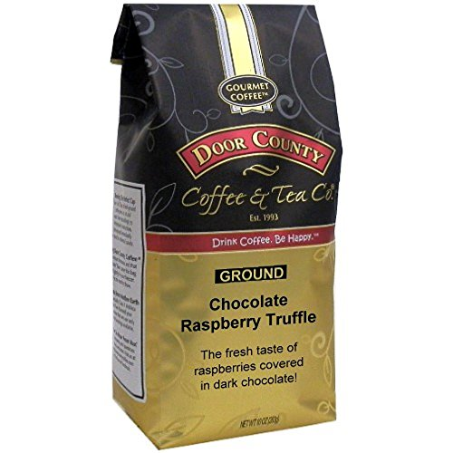 Door County Coffee, Chocolate Raspberry Truffle, Flavored Coffee, Medium Roast, Ground Coffee, 10 oz Bag