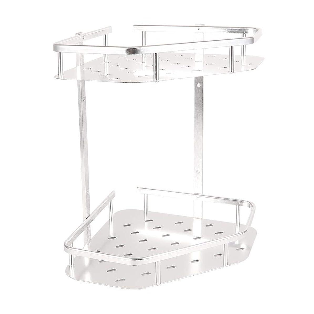 食べる永遠のローンGOTOTOPシャワー棚、耐久性のあるアルミニウム2層バスルームシャワー棚キッチン収納バスケットコーナー棚