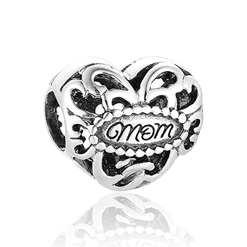 Hollow Design Love Mom 925 Sterling Silver Bead Fits Pandora Charm Bracelet