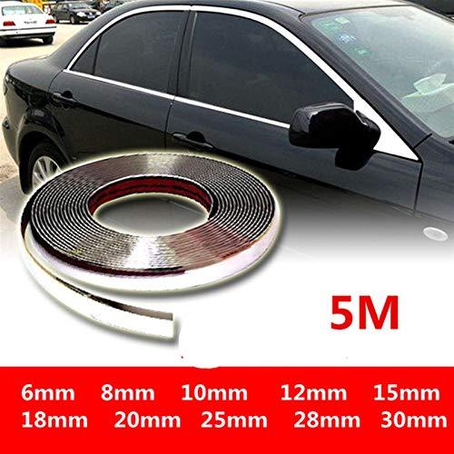 N\A 5M Exterior Coche Carrito Cuerpo Strip de Bumper Auto Puerta Moldeado Protector Estilizador Estilo Pegatina de Ajuste 6mm 10mm 12mm 15mm 20mm 25mm 30mm Tiras de Ajuste Interior de automóviles