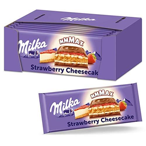 Milka Strawberry Cheesecake 12 x 300 g – Schokoladentafel aus Alpenmilch mit Erdbeer-Käsekuchen-Füllung und Keks