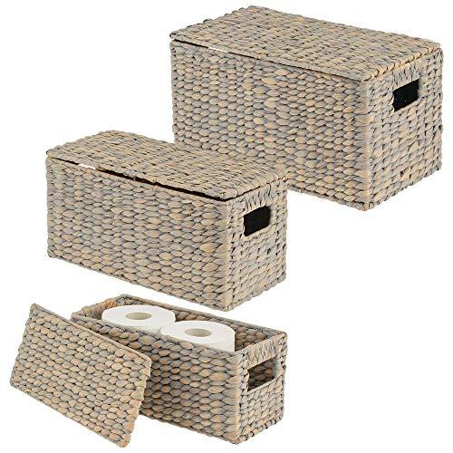 mDesign Juego de 3 cestas organizadoras – Elegantes cestas de almacenaje de jacinto de agua con tapa – Cajas de almacenaje con asas, ideales para guardar ropa, juguetes o revistas – gris