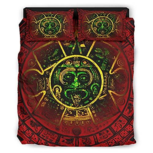 Alter Inka Maya - Juego de cama (240 x 264 cm), diseño azteca, color blanco