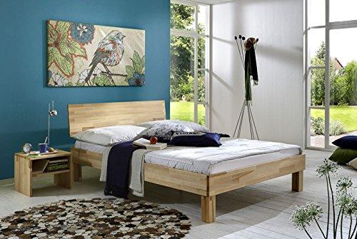 SAM® Massivholzbett Bahar aus Kernbuche 180x200 cm, geschlossenes Kopfteil, geöltes Massivholz