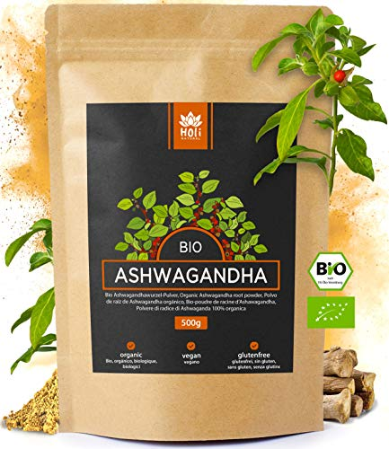 Holi Natural® Premium BIO Ashwagandha Root Powder - 500g - REAL Indian Withania Somnifera de cultivo orgánico certificado - en una bolsa biodegradable y resellable