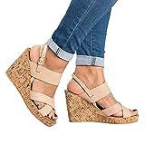 Sandals For Women, Clearance Sale !! Farjing Peep Toe Breathable Beach Sandals Boho Bukcle Strap Casual Wedges ShoesUS:9Beige)