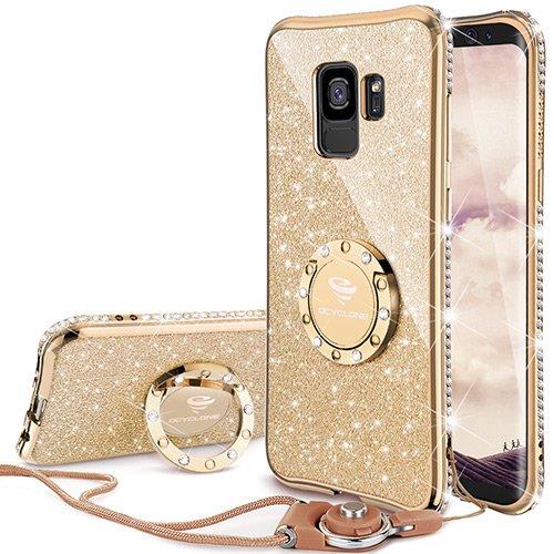 OCYCLONE Fundas para Movil Samsung Galaxy S9,Purpurina Brillante Fundas Galaxy S9 para Mujer con Glitter Diamante Anillo,Ultrafina Soft Funda Movil Protector Samsung Galaxy S9,Oro