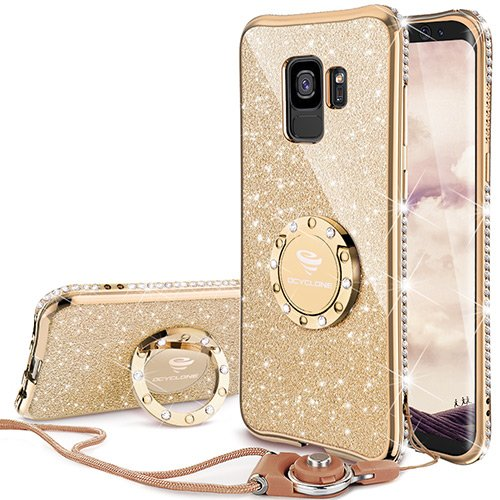 OCYCLONE Fundas para Movil Samsung Galaxy S9,Purpurina Brillante Fundas Galaxy S9 para Mujer con Glitter Diamante Anillo,Ultrafina Soft Funda Movil Protector Samsung Galaxy S9,Oro
