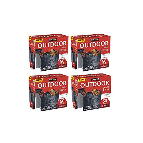 Kirkland Signature Outdoor 50 gallon Trash Bags (70 Bags) (4 Pack(Total 280 Bags, Each 70 Bags))