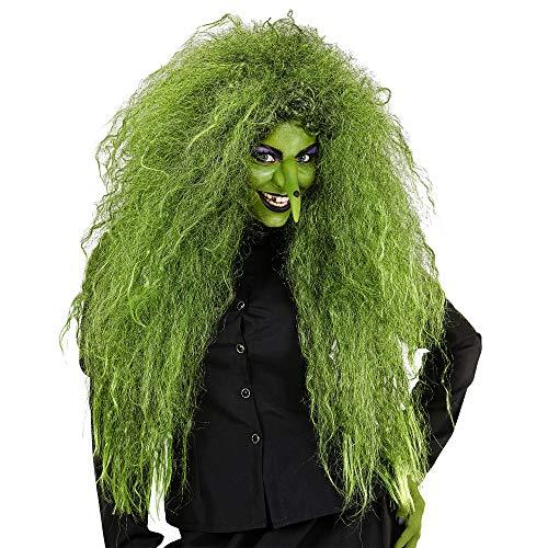 Widmann 02083 – Hexenperücke, grün, lang, zottelig, Frisur, Haare, Accessoire, Zubehör, Halloween, Karneval, Motto Party
