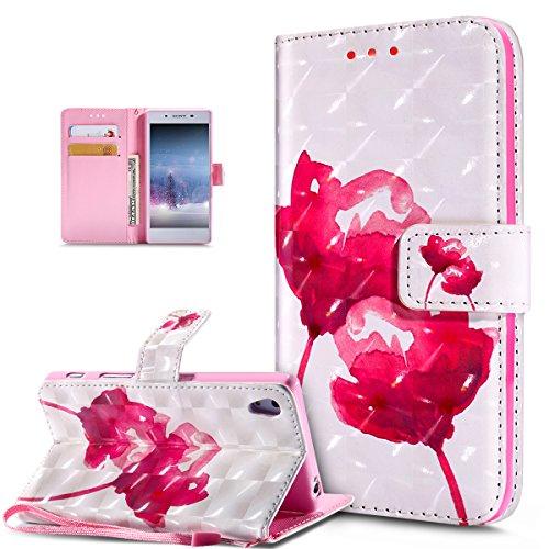 Kompatibel mit Schutzhülle Sony Xperia Z5 Hülle Handyhülle Leder Hülle,3D Bunte Gemalte Schmetterlings Muster PU Lederhülle Flip Ständer Wallet Handy Hülle Tasche Handy Tasche Schutzhülle,Rosa Lotus