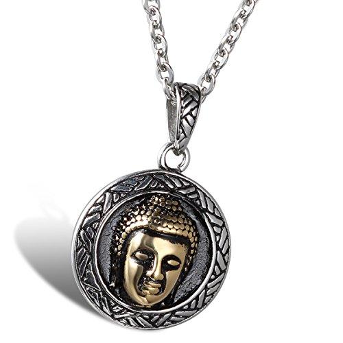 OIDEA Collar Hombre Mujer Acero Inoxidable Cabeza de Buda Principal Portrait Amuleto Oro Cadena 55CM