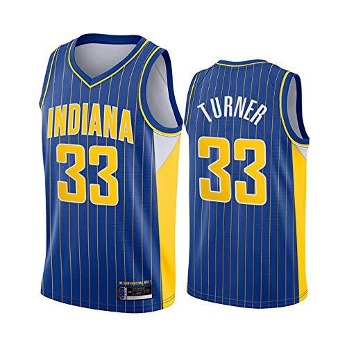 DSASAD Chaleco de Baloncesto para Hombres, Indiana Pacers # 33 Myles Turner # Baloncesto Swingman Uniform Jersey, Camiseta sin Mangas, Secado rápido y Transpirable Style A-S