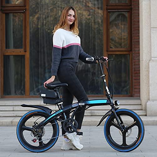 """TERLEIA Bicicleta Eléctrica Ebike De 7 Velocidades E-Bike De Acero con Alto Contenido De Carbono 20"""" Bicicleta De Montaña Eléctrica Todo Terreno Plegable para Adultos,Black Blue,36V 10AH"""