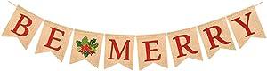 NANIH Home Be Merry Burlap Christmas Banner Bunting Garland con Holy Berry Colgando Decoración de Navidad