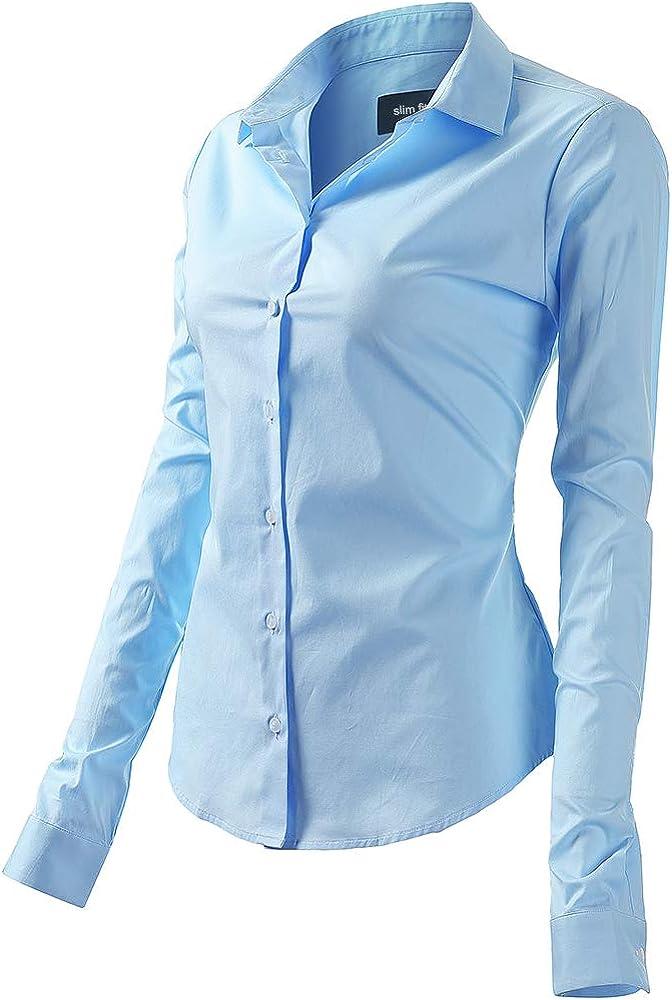 Fly hawk camicia da donna a maniche lunghe 97% cotone 3% poliestere camicetta casual azzurra
