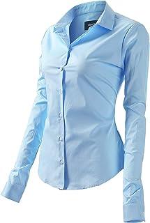 FLY HAWK Camicia Basic da Donna in Cotone Manica Lunga - Camicetta Casual Blusa Chiusura Bottoni Slim Formale Elegante - C...