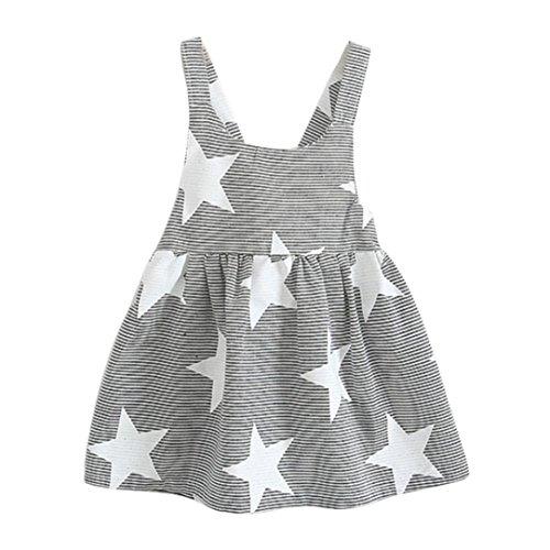 Fossen Niñas Vestidos Sin Mangas Patrón de Estrellas Verano Ropa (Gris, 3 años)