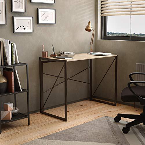 Office Hippo Home Office Desk, Foldable, Chalked Oak, 100 x 50 x 75 cm