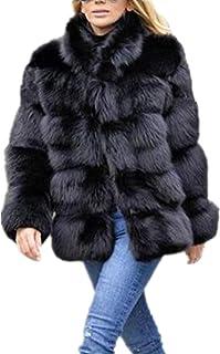 معطف شتوي للنساء معطف فاخر من فرو الثعلب الصناعي معطف طويل الأكمام وياقة معطف فرو صناعي