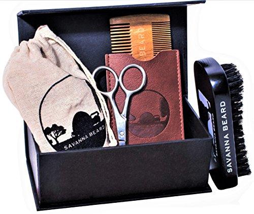 SAVANNA BEARD Grooming Beard Kit - 100% Pure Boar Bristle Brush & Green Sandalwood Dual Action Comb with PU Leather Case & Stainless Beard Nose Eyebrow Scissors - Travel Bag & Elegant box Ideal Gift