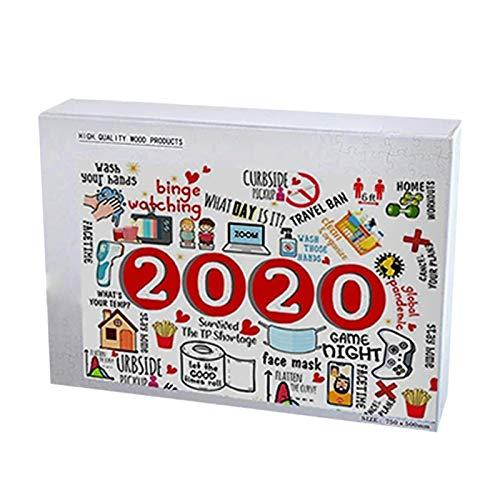 QKFON Rompecabezas de Navidad a 2020, interesante rompecabezas de Navidad para 2020, divertido rompecabezas de madera para adultos niños juguetes