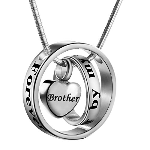 Cremation Jewelry No Longer by My Side, Forever in My Heart Carved Locket Cremation Urn Memorial Necklace Keepsake Urn Pendant for Dad (Brother)