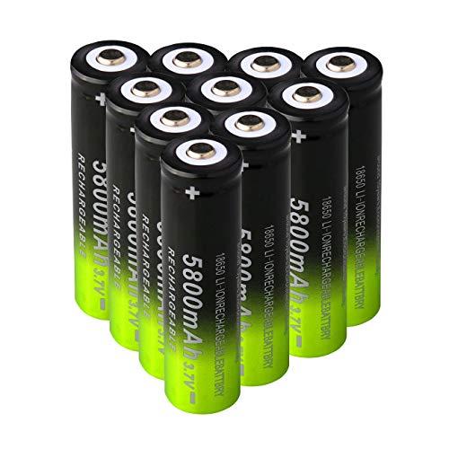 10 unidades 18650 3.7 V ICR 5800mAh Batería de ion de litio recargable 1200 ciclos de larga duración con botón para linterna de bolsillo, alta tasa de descarga tipo