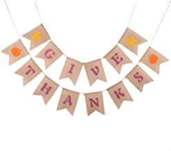 Give Thanks Banner, Sooez Thanksgiving Burlap Banner Thankful Jute Burlap Wall Banner Thanksgiving Banner Decorations, Give Thanks Fall Hanging Banner for Thanksgiving Home Party Festival Decor