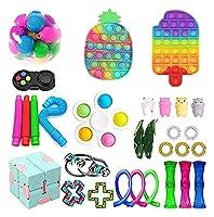 30個のPCSのFidget Toysパック、ポップバブル付きフィジットパックシンプルアンドディンプル、ストレスリシリング安いフィジットおもちゃの子供大人のためのセット (Color : Pack B)