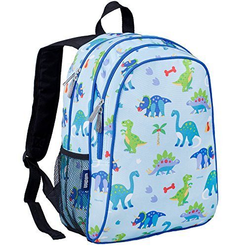 Wildkin 15 Inch Backpack, Extra Durable Backpack with Padded Straps and Interior Moisture-Resistant Lining, Perfect for School or Travel, Olive Kids Design – Dinosaur Land by Wildkin