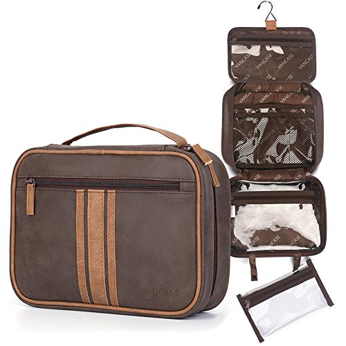Hanging Toiletry Bag for Men, Travel Make up Wash Bag, Leather Shaving Dopp Kit, Waterproof Bathroom Shower Organizer with 8 Compartments for Cosmetic Accessory