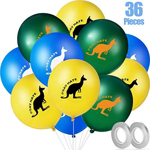 Gejoy Känguru Luftballons Set, Enthalten 36 Stücke Australien Luftballons Tier Thema Party Luftballons und 2 Stücke Silber Grau Luftballons für Geburtstag Party Dekoration