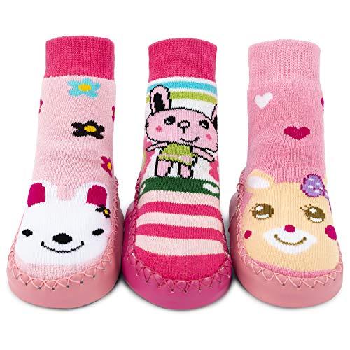 Adorel Calcetines Zapatos Antideslizantes para Bebé 3 Pares Pink Conejo 24/25 EU (Tamaño del Fabricante 16)