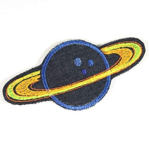 Flicken zum aufbügeln Planet 6 x 12cm Bügelbilder Bio Jeansflicken Saturn Bügelflicken Aufbügler Patch Weltraum für Erwachsene