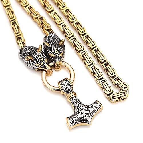 Collar con colgante de cabeza de lobo con martillo Thor Mjolnir para hombre, amuleto vikingo, cadena de acero inoxidable 316L con bolsa de regalo Valknut, plata, 60 cm