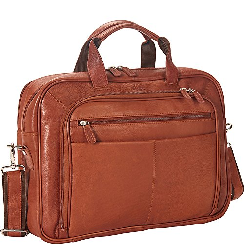 Mancini Leather Goods Colombian Zippered Double Compartment 15.6' Laptop/Tablet