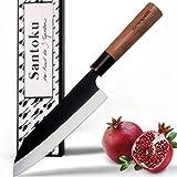 küchenspecht Santoku Messer, scharfes japanisches Küchenmesser mit schwarzer Klinge, Kochmesser, Sushi Messer 17cm