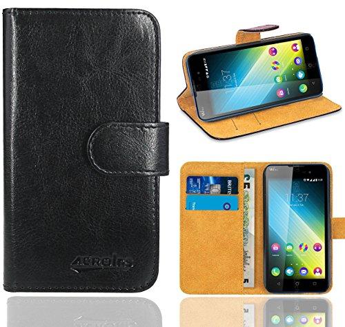 Wiko Lenny 2 Handy Tasche, FoneExpert® Wallet Hülle Flip Cover Hüllen Etui Ledertasche Lederhülle Premium Schutzhülle für Wiko Lenny 2 (Schwarz)