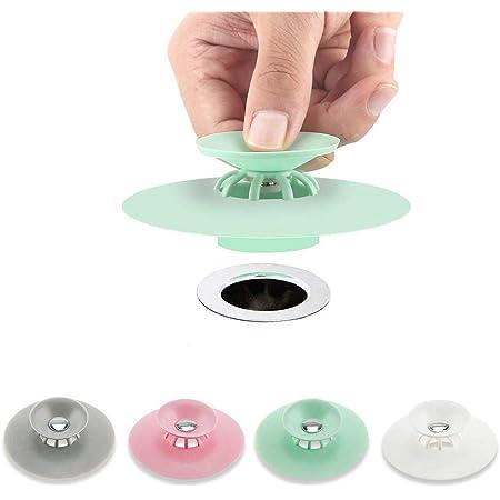 ALUYF 4 Pezzi Tappo lavello Universale in Silicone Tappo di Scarico in Silicone Universale Multifunzionali Anti Clogging per Lavandino Cucina Bagno Fognature Miscelazione dei Colori