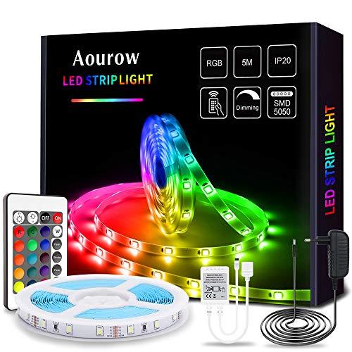 Aourow LED Streifen/LED Strip,5m Farbwechsel RGB LED stripes Lichtband inkl.Fernbedienung und 12V Netzteil,150 Stück 5050 SMD Flexibel LED Bänder mit Selbstklebend für Heimwerkerdekoration