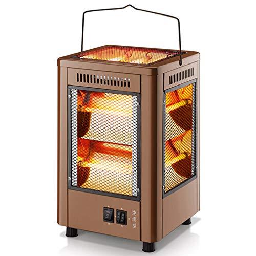 JCX Kwartsbuiskachel 5-zijdig elektrische radiator met slakkenbak, onafhankelijke schakelaar, instelbare thermostaat, draagbare infraroodverwarming voor thuis