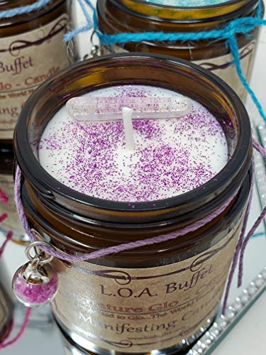 LOA Buffet Signature Glo Candle Purple, Law Of Attraction, Hand Poured Soy Candle, Chakra Balancing Candle, Glow In Dark Charm Candle