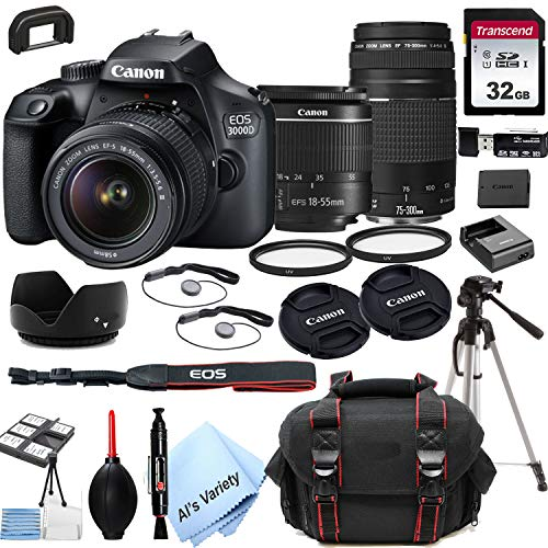 Canon EOS 3000D (Rebel T100) DSLR Camera with 18-55mm f/3.5-5.6 Zoom Lens + 75-300mm F/4-5.6 III Lens + 32GB Card, Tripod, Case, and More (24pc Bundle)
