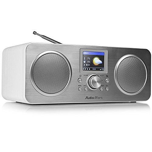 AudioAffairs IR 010 Internetradio mit Bluetooth, DAB Digitalradio mit Akku,LC-Farbdisplay, Senderspeicher, WLAN Radio, Powerbank, Aux In, weiß